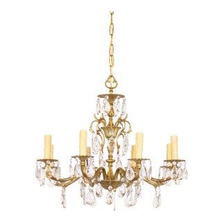 Spanish Brass Plated Crystal Chandelier