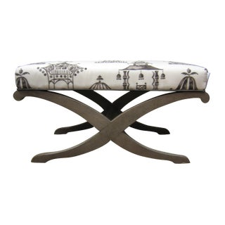 Decorative Ottoman with Pagoda Print