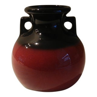 Mid-Century Glazed Pottery Black and Red Ceramic Vase