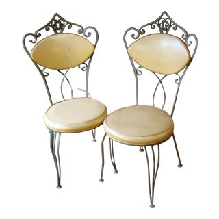 Mustard Yellow Ice Cream Shop Dining Chairs - A Pair