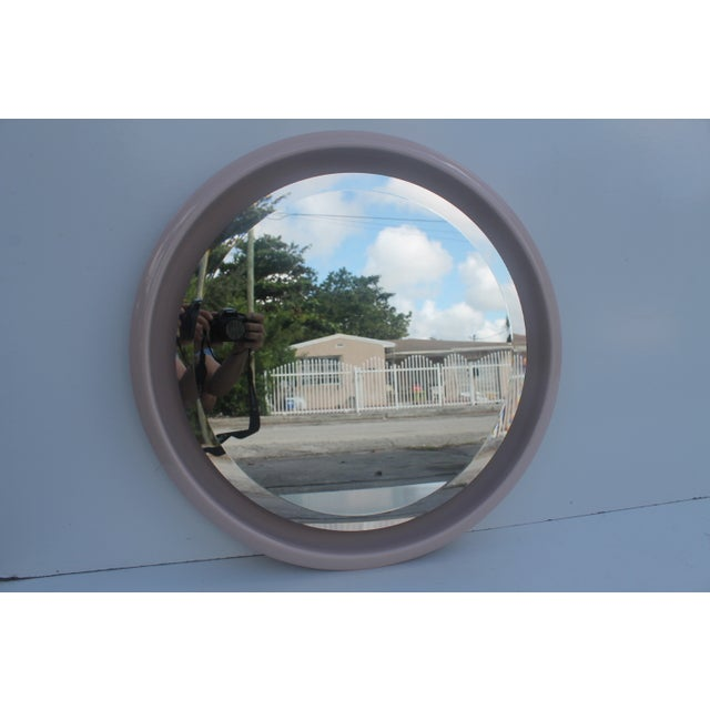 Vintage Ceramic Round Beveled Wall Mirror - Image 8 of 10