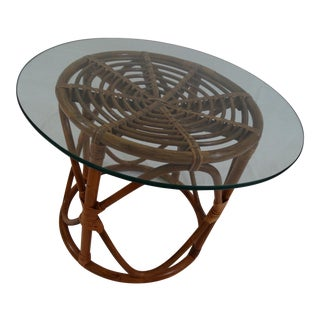 Vintage 1960s Bamboo & Rattan Glass Franco Albini Style Side Table