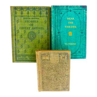 Art Nouveau Green Shade Books - Set of 3