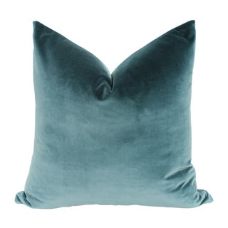 Teal Blue Italian Velvet Pillows - A Pair