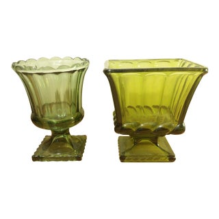 Green Footed Compotes/Planters - A Pair