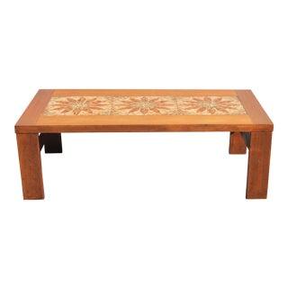 Mid-Century Modern Tiled Center Walnut Coffee Table
