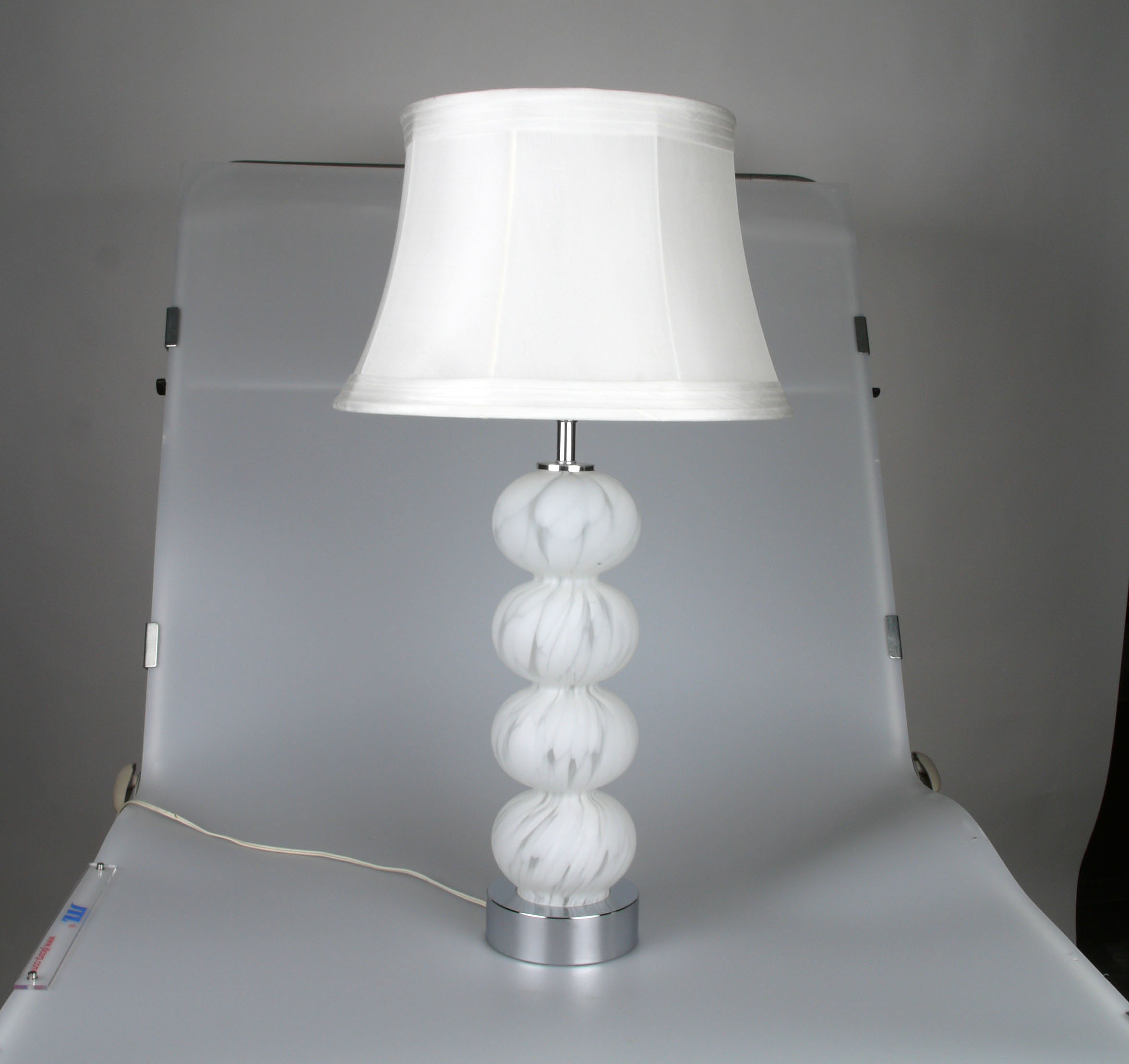 Chrome U0026 White Murano Glass Ball Table Lamp   Image 2 ...