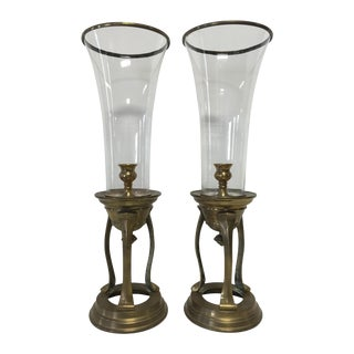 Large Brass & Glass Candle Holders - Pair