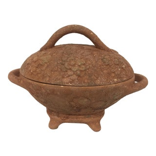 Antique Clay Covered Trinket Dish