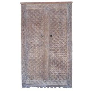 Whitewashed Diamond Carved Teak Wood Armoire