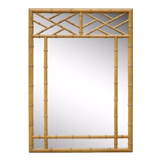 Vintage Hollywood Regency Mid Century Modern Faux Bamboo Open Fretwork Mirror