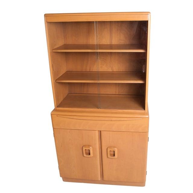 Image of Heywood Wakefield Solid Maple Display Hutch