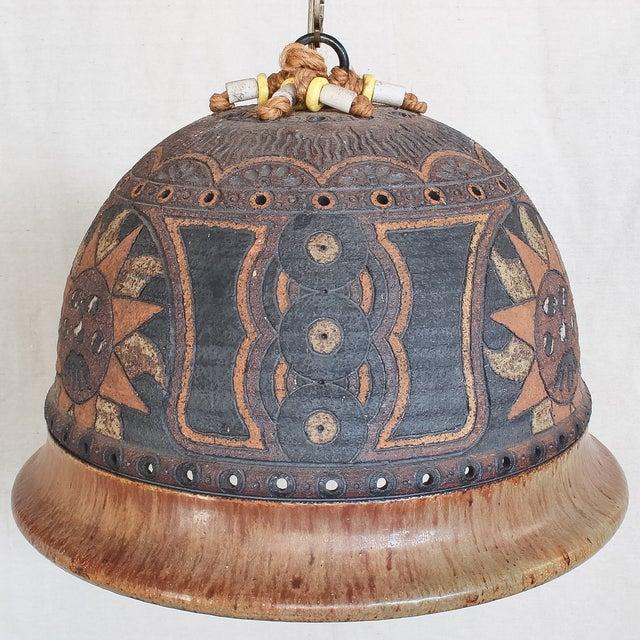 Image of Mid-Century Boho Pottery Swag Pendant Lamp