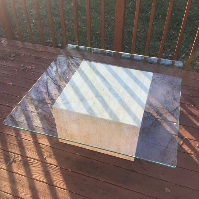 Modern Cube Travertine & Glass Coffee Table - Image 4 of 11