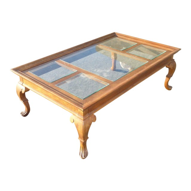Large French Coffee Table: Vintage French Country Glass Top Wooden Coffee Table