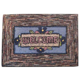 Hand-Hooked Mounted Welcome Rug from Pennsylvania