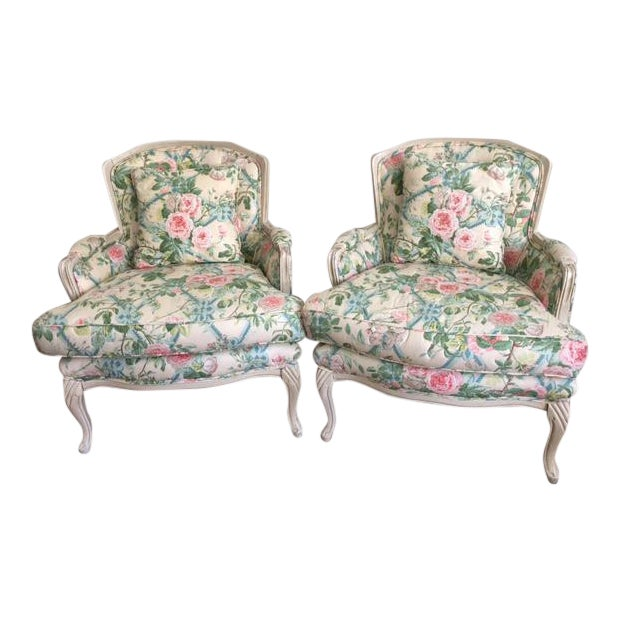 Shabby Chic Floral Bergere Chairs - A Pair - Image 1 of 11