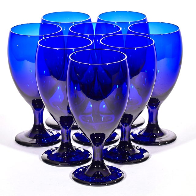Cobalt Glass Water Stems - Set of 8 - Image 3 of 4