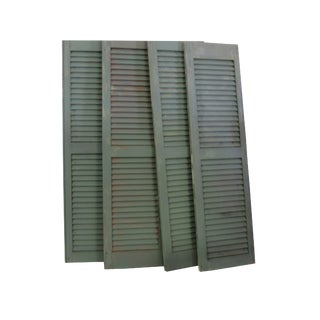 Vintage Louvered Farmhouse Shabby Cottage Garden Shutters - Set of 4