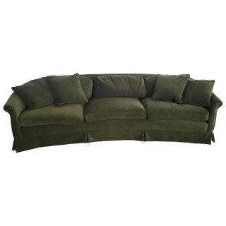 Vintage Green Velvet Curved Back Couch
