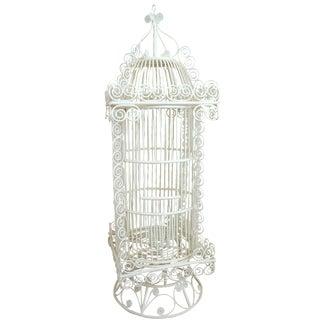 Victorian-Style White Wicker Birdcage