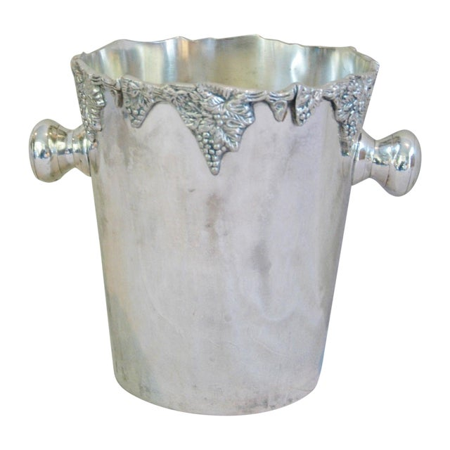 Silver-Plate Champagne Bucket with Grape Motif - Image 1 of 7