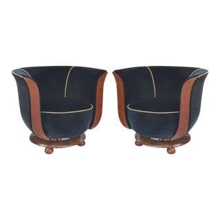 Art Deco Club Chairs Hotel Le Malandre, Pair