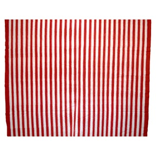 Red & White Striped Cotton Fabric - 4 yards