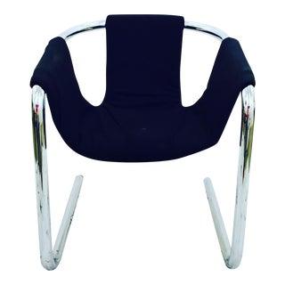 Vintage Italian Mid Century Modern Chrome Tubular Sling Chair