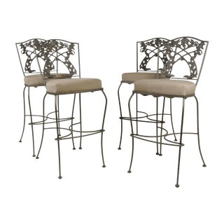 Set of 4 O.W.Lee Wrought Iron Bar Stools