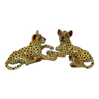 Vintage Ceramic Cheetahs - A Pair