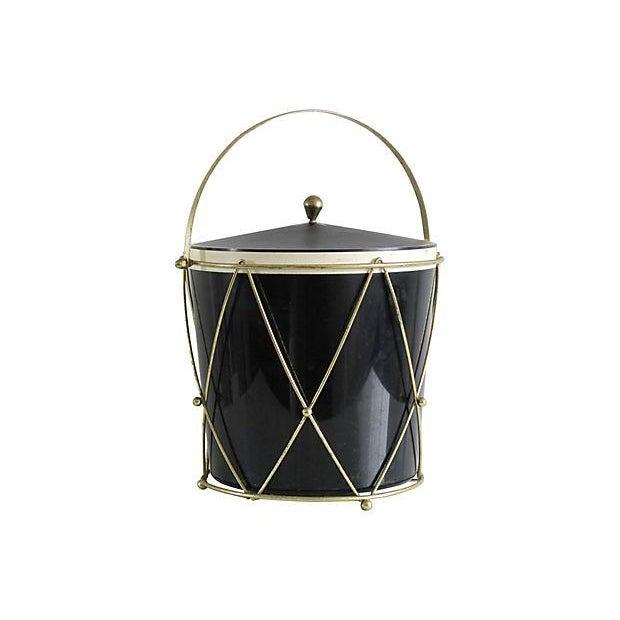 Image of Black Plastic Drum-Style Ice Bucket & Caddy