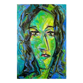 "Large Mid-Century Abstract Figurative Painting by Trixie Pitts ""Green Girl"""