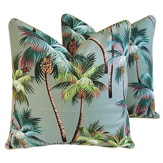 Custom Oasis Palm Tree Barkcloth Pillows - A Pair