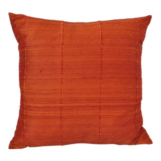Textured Orange Raw Silk Throw Pillow