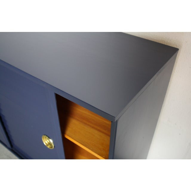 1960's Navy Cabinet W/ White & Gold Tapered Legs - Image 8 of 11