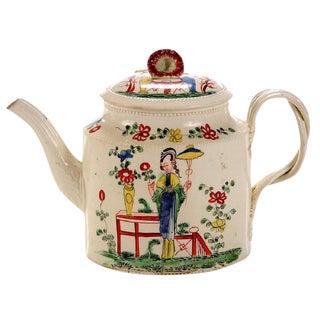 Chinoiserie Creamware Pottery Teapot & Cover, Melbourne, Derbyshire, Circa 1765