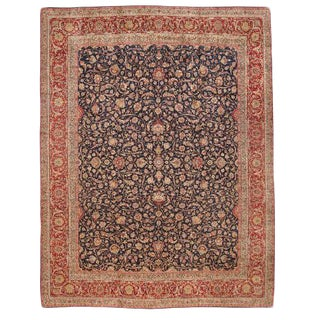 Antique Extremely Finely Woven Oversize Persian Lavar Kerman Carpet