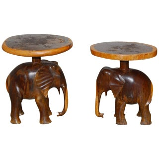 Carved Elephant Drink Tables - A Pair