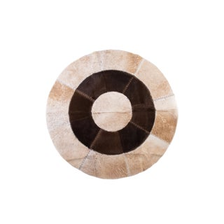 "Cowhide Patchwork Circular Area Rug - 5'3""x5'3"""