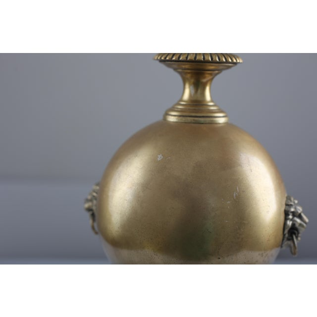 Neo Classical Early Stiffel Brass Lamp With Milk Glass Torchiere and Original Shade - Image 7 of 10