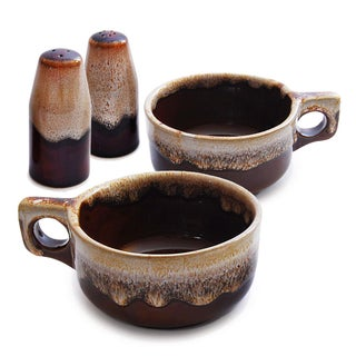 Western Stoneware Bowls and Salt & Pepper Set- S/4