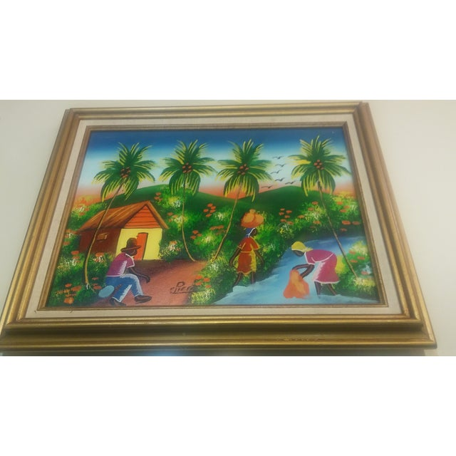 Image of Vintage Barbadian Islander Oil Painting