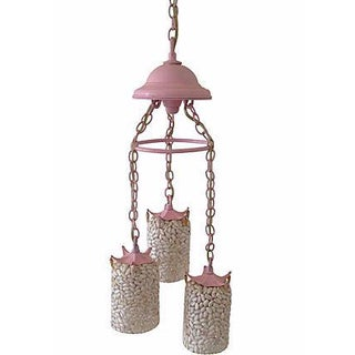 1950s Pink Iron and Shell Chandelier