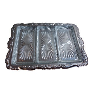 Oneida Silver Serving Tray With Glass Inserts
