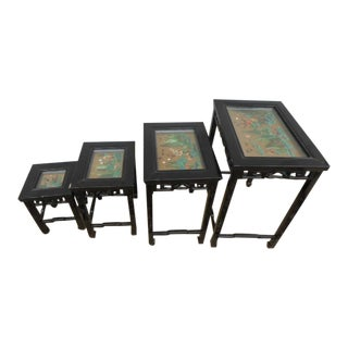 Asian Black Lacquer Chinoiserie Nesting Tables - Set of 4