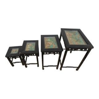 Chinese Ebonized Jade Nesting Tables - Set of 4