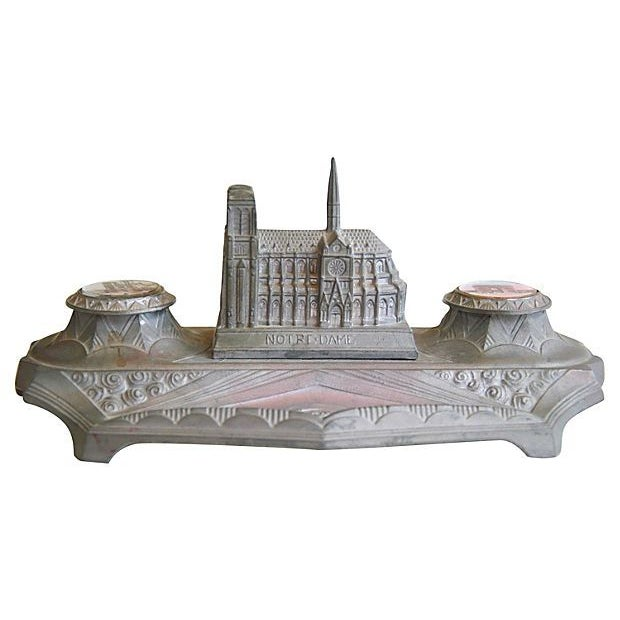 1930s French Iconic Historic Sites Inkwell - Image 7 of 9