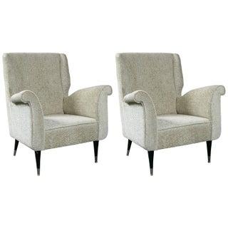 Mid Century Modern Gio Ponti Style Armchair - Pair