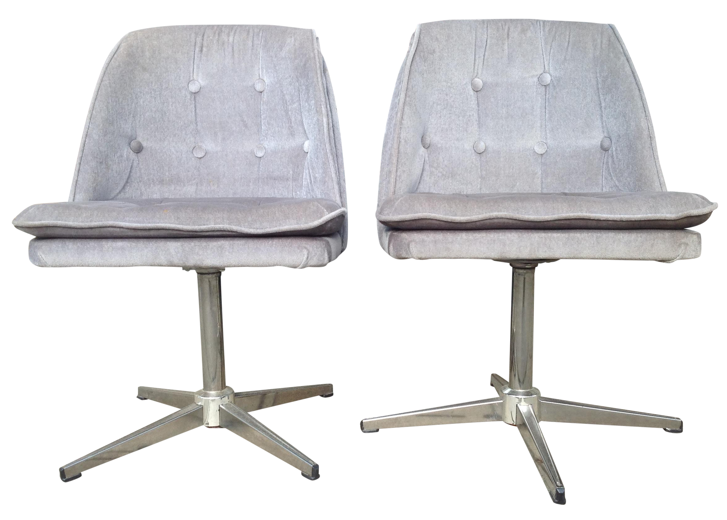 70s crushed velvet accent chairs a pair